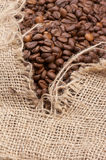 Coffe beans in sack Stock Image