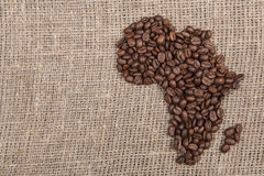 Coffe beans shaping Africa on burlap Stock Photos