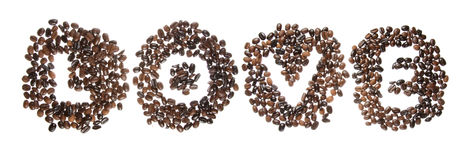 Coffe beans used to spell the word love Royalty Free Stock Images