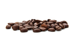 Coffe Beans On White Background. Some coffee beans is isolated on white background Royalty Free Stock Photography
