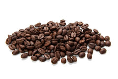 Coffe Beans On White Background. Some coffee beans is isolated on white background Royalty Free Stock Images
