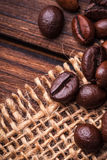 Coffe beans. On the woden table stock photos