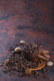 Coffe beens with spices Stock Photo