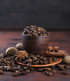 Coffe beens with spices Royalty Free Stock Photography