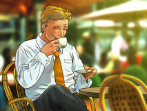 Coffe bevente dell'uomo d'affari Immagine Stock Libera da Diritti