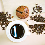 Coffe and bread Stock Images