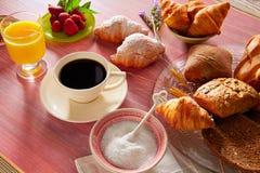 Coffe breakfast with orange juice croissant bread Stock Photo