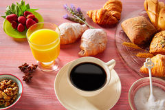 Coffe breakfast with orange juice croissant bread Royalty Free Stock Photography