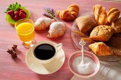 Coffe breakfast with orange juice croissant bread Stock Photos