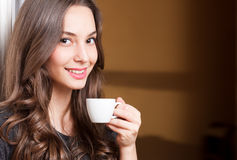 Coffe with a brunette beauty. Stock Image