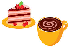 Coffe & Cake. Vector illustration a cup of coffee with cream and a piece of a cake with berries on a plate Royalty Free Stock Image