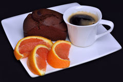 Coffe, cake and orange Stock Photo