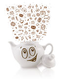Coffe can with hand drawn media icons Royalty Free Stock Image