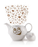 Coffe can with hand drawn media icons Royalty Free Stock Photo