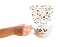 Coffe can with hand drawn media icons Stock Photography