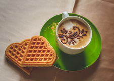 Coffe cappuccino with waffles Royalty Free Stock Image