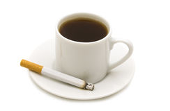 Coffe and cigarette. On white background royalty free stock photos