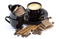 Coffe, cinnamon and chocolate Stock Images