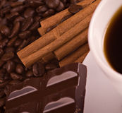 Coffe, cinnamon, chocolate Royalty Free Stock Photo