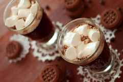 Coffe cocktails with cream and  marshmallows Stock Photography
