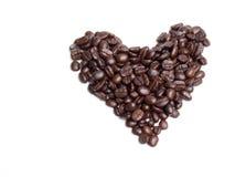 Coffe. E beans as a heart shape Stock Photos