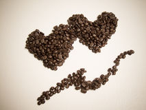 Coffe. E beans as a heart shape Royalty Free Stock Images