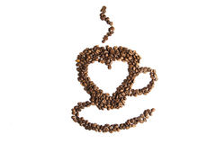 Coffe. E beans in the shape of a e cup with a heart in the center Stock Image