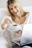 Coffe computer time Royalty Free Stock Photography