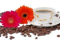 Coffe con i fiori Fotografia Stock