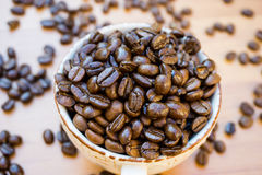Coffe cup and bean.  stock photography
