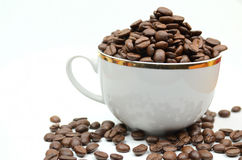 Coffe cup and beans Stock Photography