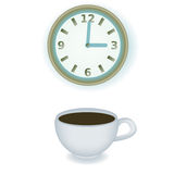 Coffe cup and clock Royalty Free Stock Photo