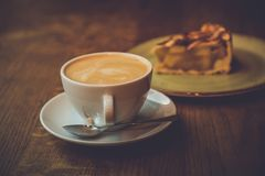 Coffe. Cup of coffe with cookies on table stock photo