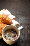 Coffe cup and croissant background coffe time Stock Photo