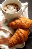 Coffe cup and croissant background coffe time Royalty Free Stock Photos