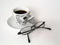 Coffe Cup with glasses. Coffee cup with glasses on white background stock images