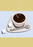 Coffe Cup. A cup of hot coffee with two lumps of sugar stock photos