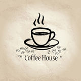 Coffe cup over old paper background. Cafe vintage poster or banner. Royalty Free Stock Images
