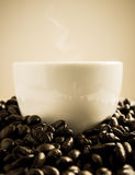 Coffe cup round by coffee beans Stock Images