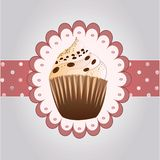 Coffe cupcake on the grey background Royalty Free Stock Photo
