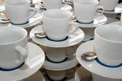 Coffe cups. Coffee and tea cups on a restaurant table stock photos