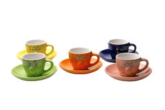 Coffe cups. Ridiculous coffee cups with a smile Royalty Free Stock Photography