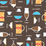 Coffe cups background. Seamless vector pattern Royalty Free Stock Photos