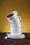 Coffe cups and beans Stock Photo
