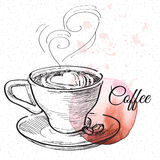 Coffe, dibujo de la mano del vector Fotos de archivo