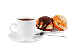Coffe and Doughnuts. Coffe and Sweet Doughnuts on white backgrund Royalty Free Stock Images