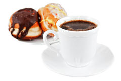 Coffe and Doughnuts. Coffe and Sweet Doughnuts on white backgrund Royalty Free Stock Photos