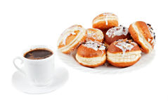 Coffe and Doughnuts. Coffe and Sweet Doughnuts on white backgrund Stock Images