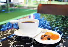 Coffe with dried fruit Royalty Free Stock Images