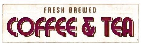 Coffe e sinal retro do chá fotografia de stock royalty free